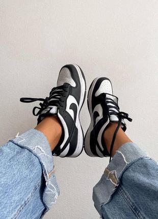 Женские черно-белые кроссовки nike sb dunk low retro white black / жіночі кросівки найк
