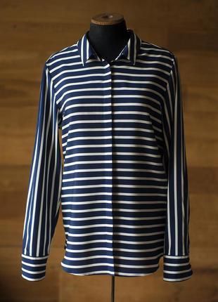 Темно синяя  шелковая рубашка в полоску женская van laack, размер m
