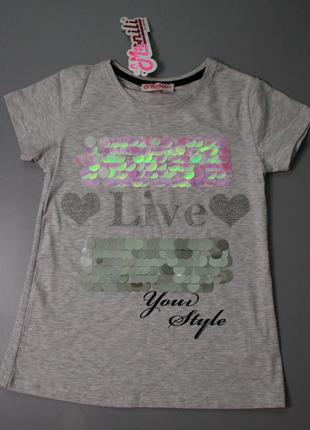 Распродажа детская подростковая футболка серая с паетками турция высокое качество