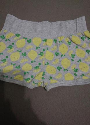 Трикотажные, короткие шорты /серый меланж с принтом -лимончики/3-4 года/хлопок