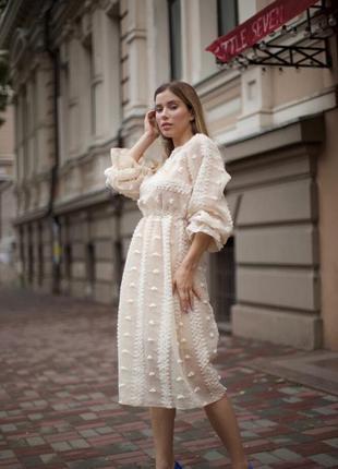 Красивое и необычное платье миди из эксклюзивной итальянской ткани