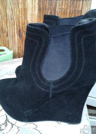 Демисезонные ботинки, сапожки, полусапожки, сапоги, на платформе натуральный замш