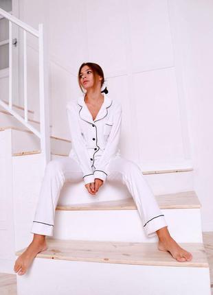 Женский домашний костюм пижама велюр jeny белый
