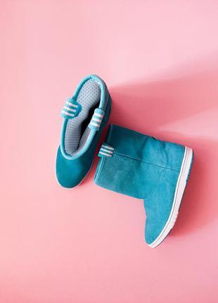 Угги сапоги замшевые бирюзовые adidas neo