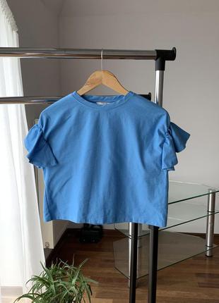 Футболка рюши объемные рукава плотная блузка тор