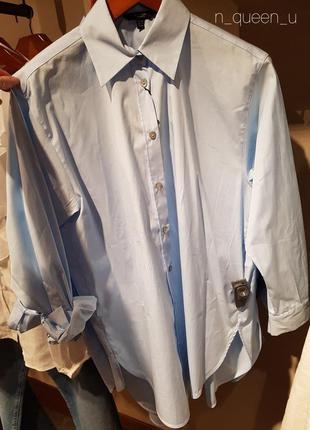 Рубашка голубая из хлопкового поплина massimo dutti! оригинал, португалия!