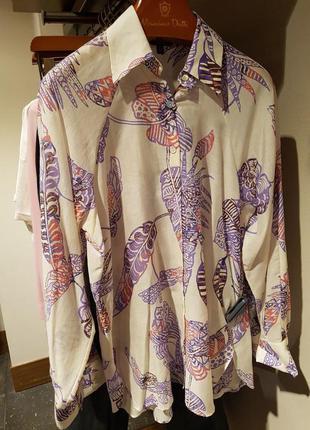 Рубашка из хлопка и шелка с принтом massimo dutti! оригинал, португалия!