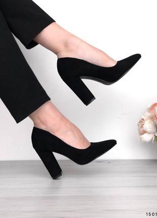 Замшевые туфли на устойчивом каблуке женские лодочки замш