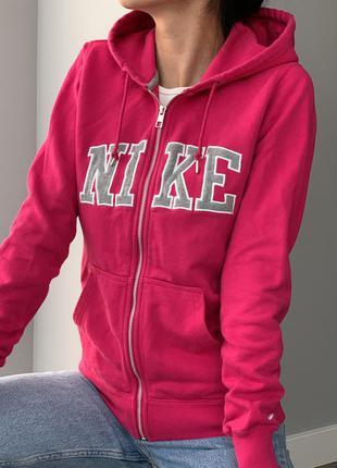 Nike розовая трикотажная кофта худи хлопок на молнии лого м adidas