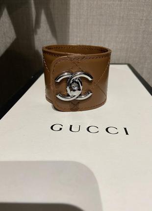Шикарный брендовый кожаный стёганый браслет chanel
