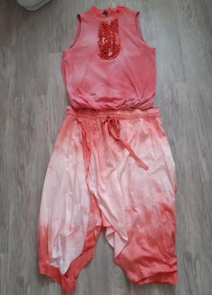 Дизайнерський костюм спідниця-брюки кофтинка