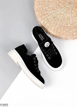 🍁женские туфли на шнуровке натуральная замша