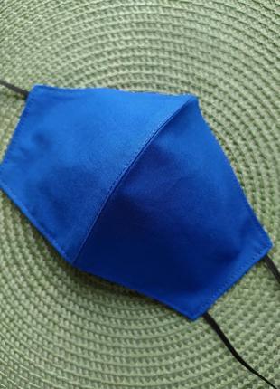 Синяя яркая однотонная маска многоразовая хлопок