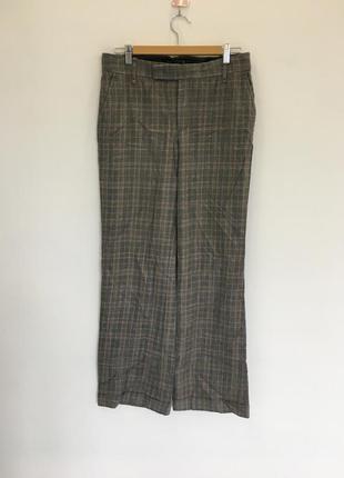 Оригинальные шерстяные прямые брюки в клетку от zara woman лимитированная коллекция премиум  1+1=3