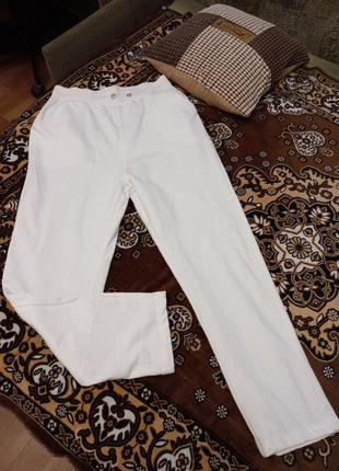 Продам белые спортивные штаны boohoo (l) высокая посадка
