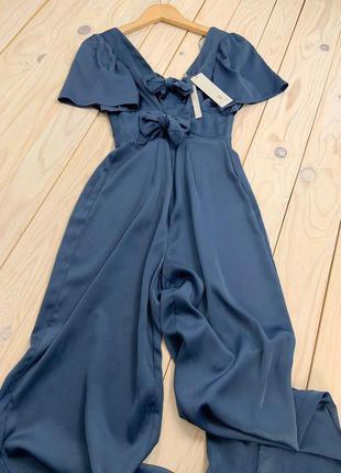 Качественный струящий синий комбинезон с широкими прямыми брюками lost ink