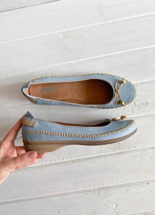 Голубые балетки go soft  из натуральной кожи №1549
