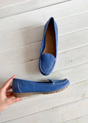 Синие мокасины go soft  из натуральной кожи №1550