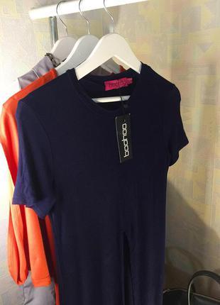 Тёмно синяя футболка длинная облазнительный фасон от boohoo xxs xs s новая с биркой