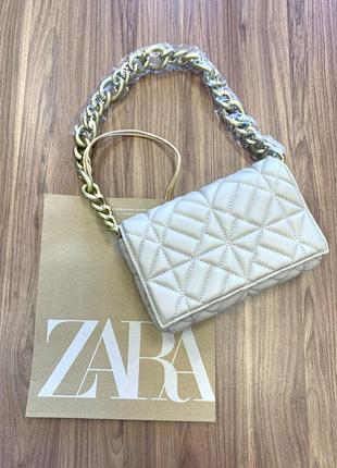 Женская стильная сумка-клатч zara на цепочке