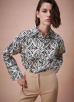Шикарная рубашка оверсайз с вышивкой zara