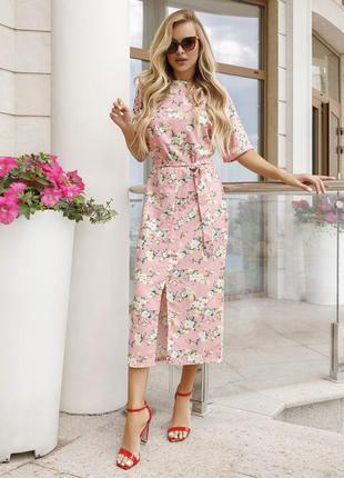 Стильное розовое коттоновое платье с короткими рукавами цветочный принт