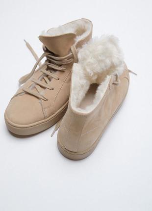 Zara кожаные хайтопы высокие кеды ботинки