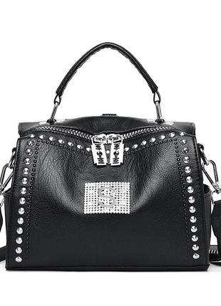 Женская чёрная кожаная сумка рюкзак