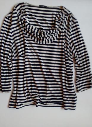 Базовая блуза в полоску ворот хомут большой королевский размер roman