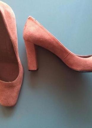 Туфли лососевые замша каблук устойчивые