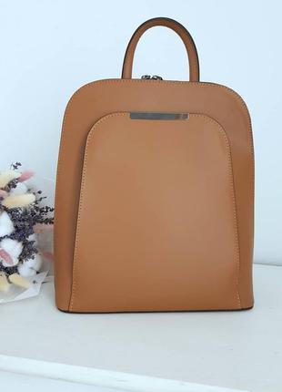 Женский городской классика рюкзак сумка коричневый а4 италия virginia conty рыжий горчица коричневый натуральная кожа каркасный с ручкой vera pelle