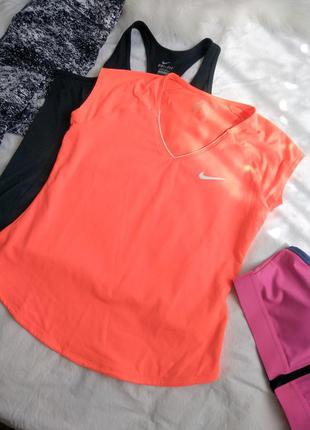 Оранжевая неоновпя футболка найк nike 36 38 s m