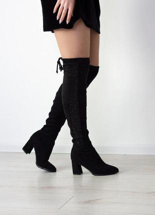 Шикарные ботфорты 2506 на среднем каблуке сапоги ботфорти чоботи