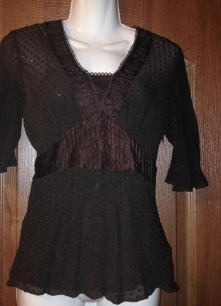 Шоколадная блузка блуза из натурального шелка, р.l от moonsoon с вышивкой