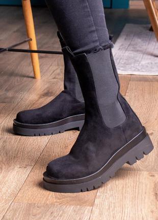 Женские ботинки черные 2462 жіночі черевики