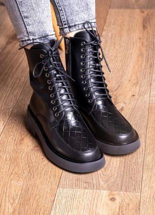 Женские ботинки деми черные 2409 жіночі черевики