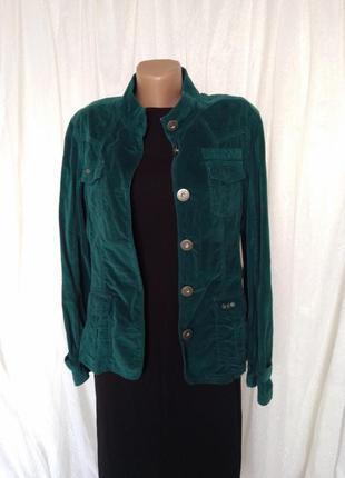 Куртка пиджак микровельвет вельвет изумруд