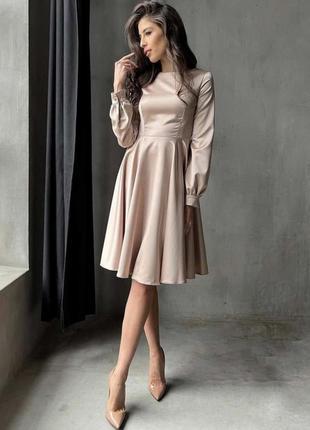 Шелковое атласное платье пудровое