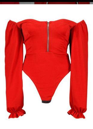 Блуза-бодік з пишними рукавами розмір 50-52.