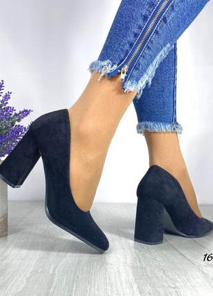 Туфли чёрные темно синие замшевые замша экозамша