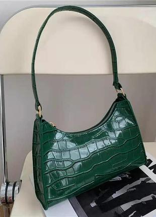 Зеленая сумка багет
