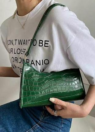 Сумка багет зеленая под кожу крокодила
