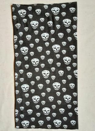 Серый трикотажный бафф шарф хомут снуд балаклава череп сток из германии