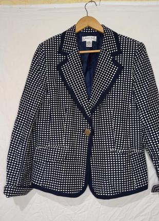Женский пиджак в горох белый темно синий деловой