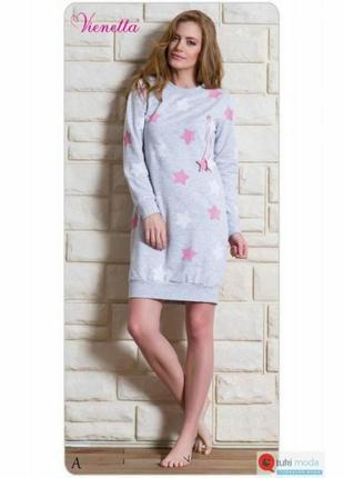 Домашняя туника, ночная рубашка с розовыми звездами