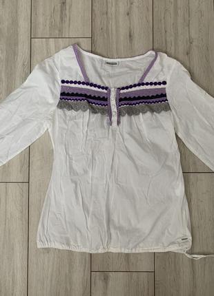 Белая/вышиванка/кофта/нарядная/с длинным рукавом/