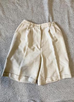 Шорты бермуды бежевые шорты широкие удлиненные со стрелками с закатом с карманами по колено под пояс