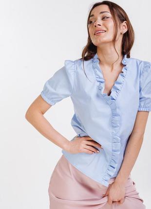 Блуза из хлопка , блуза с короткими рукавами , голубая блуза
