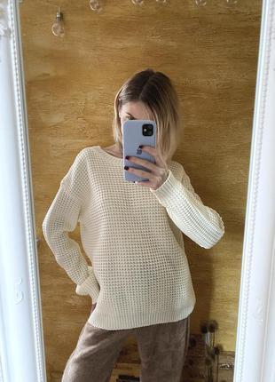 Объемный молочный свитер, джемпер оверсайз boohoo