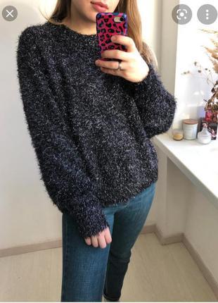 Теплый оверсайз свитер травка